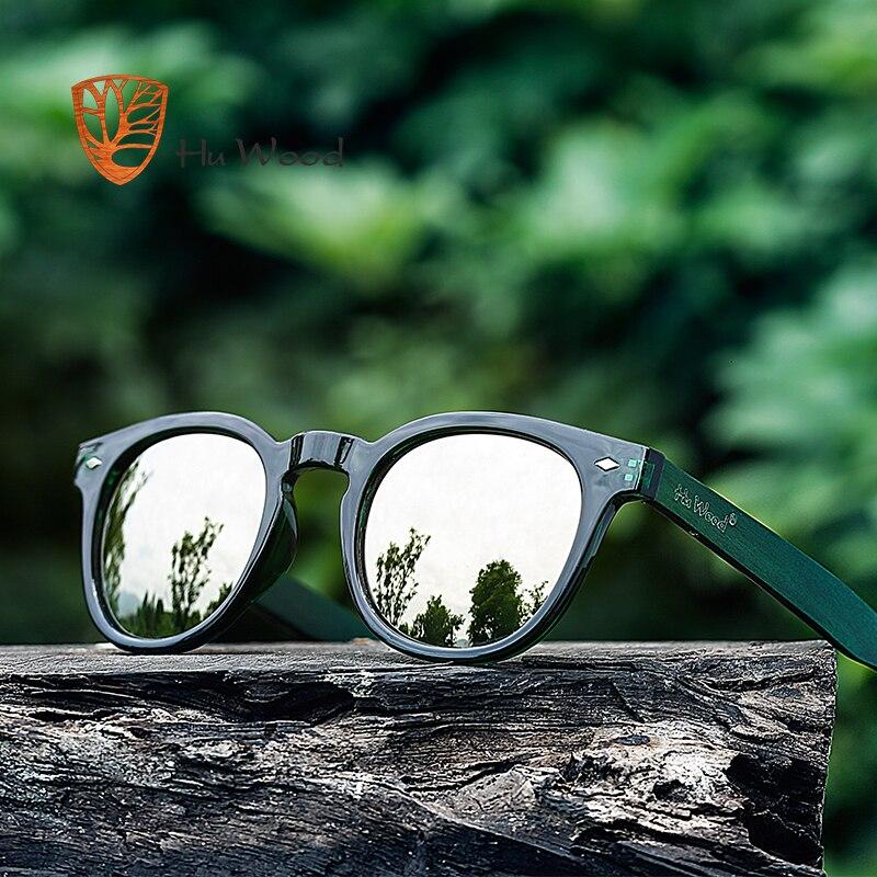 Мужские и женские темные очки HU WOOD, деревянные очки в пластиковой оправе с синими зеркальными линзами, круглые солнцезащитные очки GR8017