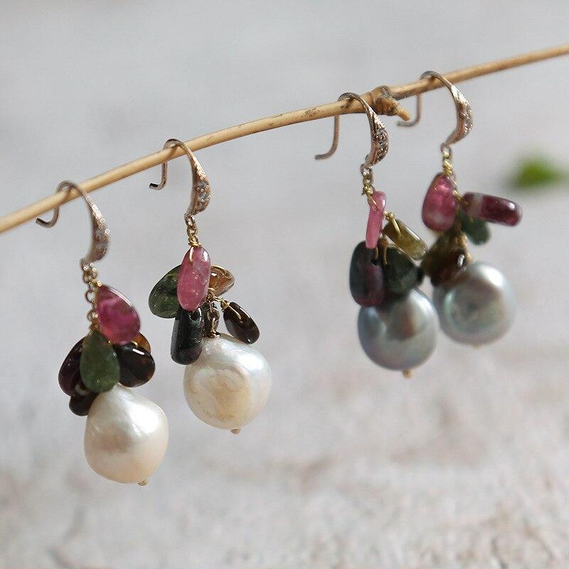 Perles baroques naturelles pierres semi-précieuses naturelles tourmaline cristal mode boucles d'oreilles oreilles pendent en gros