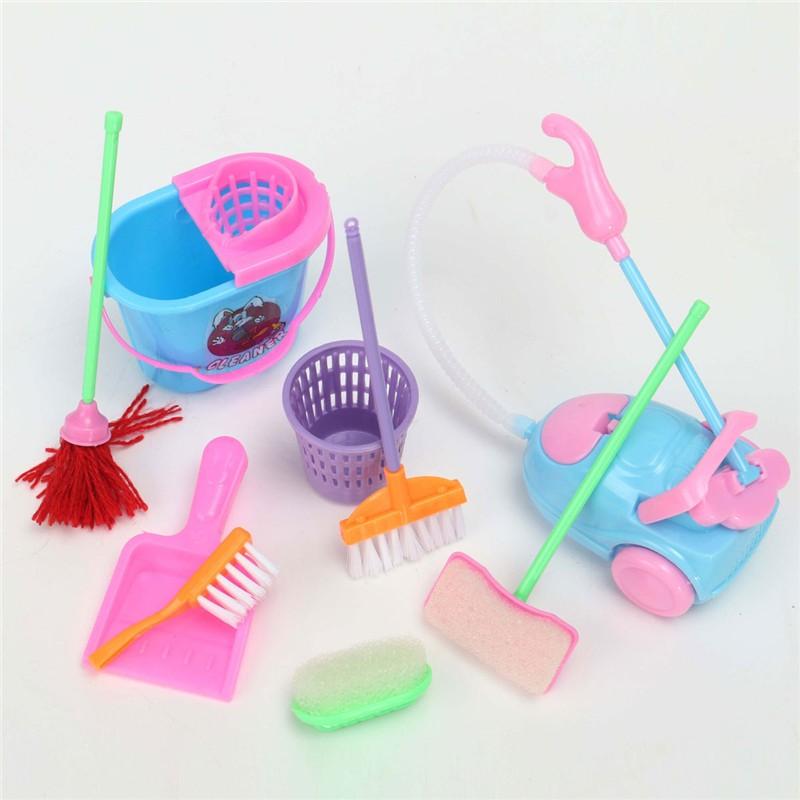 JIMITU 9Pcs Girl House Dolls Furniture Cleaning Kit Set Home Furnishing Funny Vacuum Cleaner Mop Broom Tools Pretend Play Toys