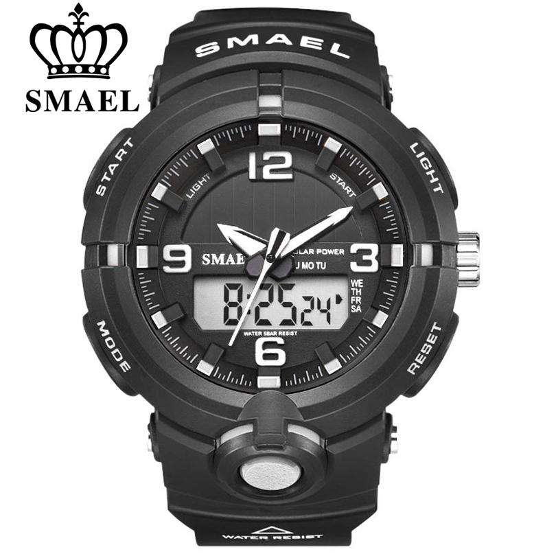 New 2020 SMAEL Brand Solar Energy Watch Digital Quartz Men Sports Watches Multifunctional Dual Time Outdoor Military Wristwatch