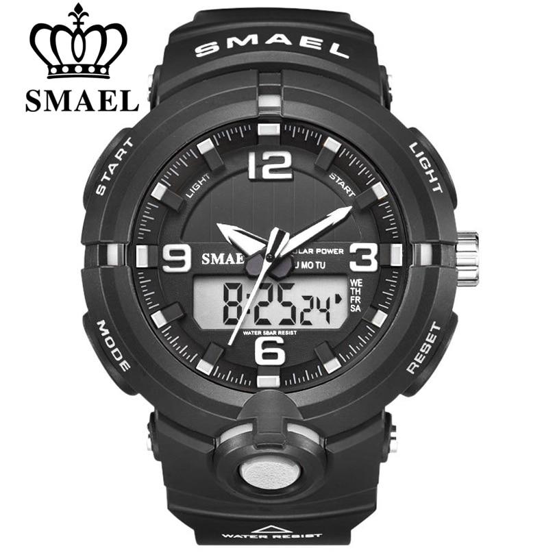 New 2019 SMAEL Brand Solar Energy Watch Digital Quartz Men Sports Watches Multifunctional Dual Time Outdoor Military Wristwatch