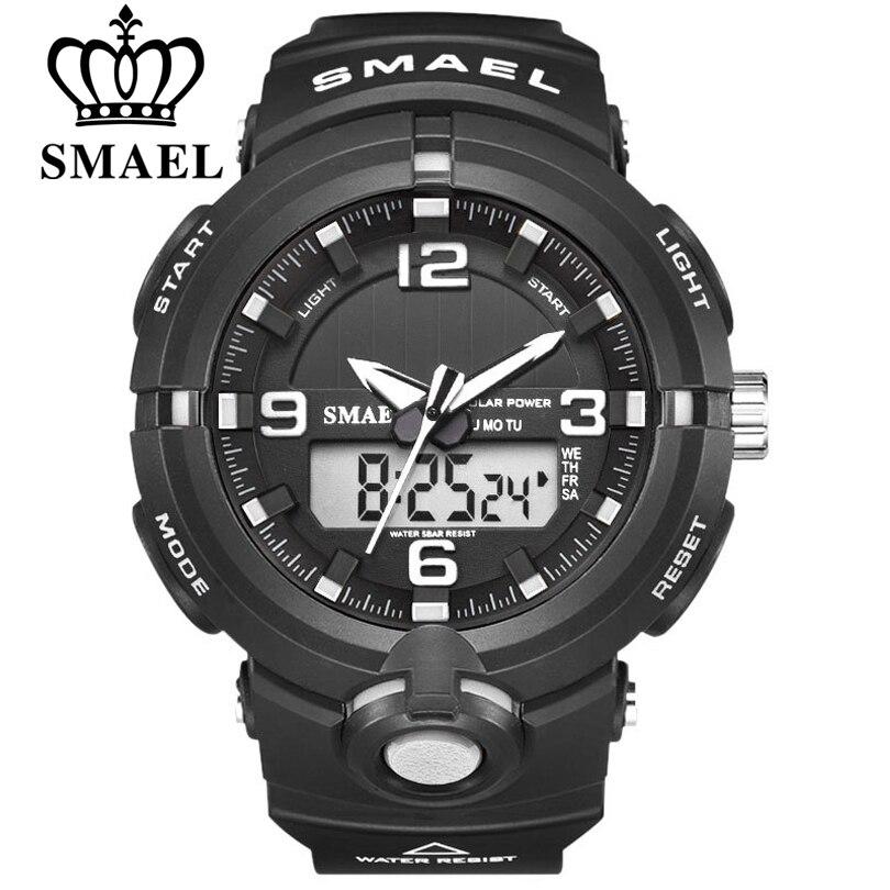 Часы SMAEL с солнечной батареей, Цифровые кварцевые часы для мужчин, спортивные многофункциональные часы с двойным временем для активного отдыха, военные наручные часы, 2020|Спортивные часы|   | АлиЭкспресс