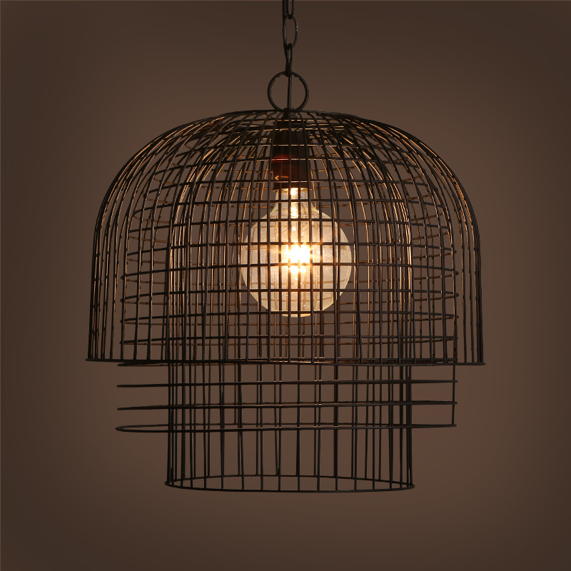American retro iron cages pendant lights loft industrial wind lantern dining room bedroom living room creative pendant lamps ZA bright lights pendant lights american simple living room lights european style wrought iron lamps bedroom dining lights lu829486