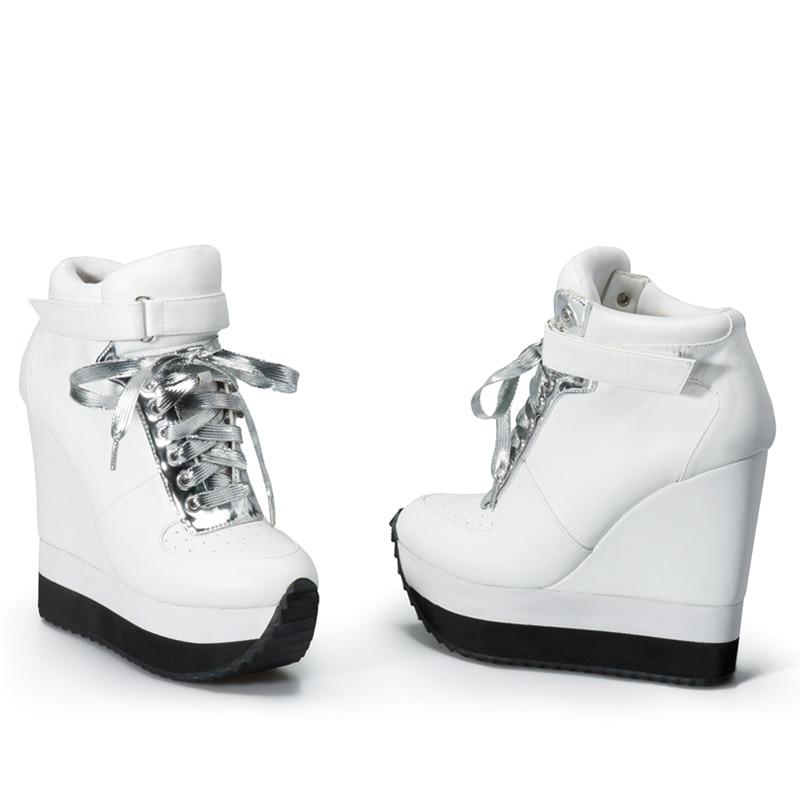 الوردي النخيل عارضة مضخات النساء أحذية عالية الكعب حذاء بكعب ويدج الدانتيل صعودا الكاحل حزام زيادة ارتفاع أحذية رياضية أحذية-في أحذية نسائية من أحذية على  مجموعة 2