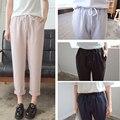 J2fe220 # 8208 nova moda feminina cordão elástico na cintura calças femininas básicas clássico Casual harém tornozelo - calças de comprimento