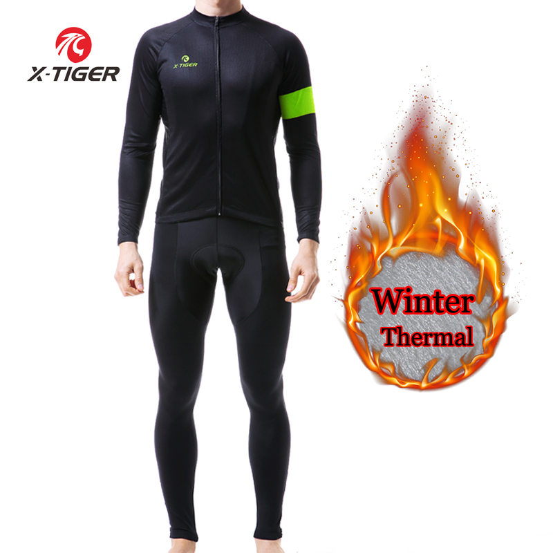 X TIGER Winter Cycling Clothing Thermal Fleece Cycling Jersey Sets Men Bicycle Jacket Men s Bike