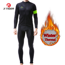 X-TIGER Winter Cycling Clothing Thermal Fleece Cycling Jersey Sets Men Bicycle Jacket Men's Bike Clothing Ropa Ciclismo 2019