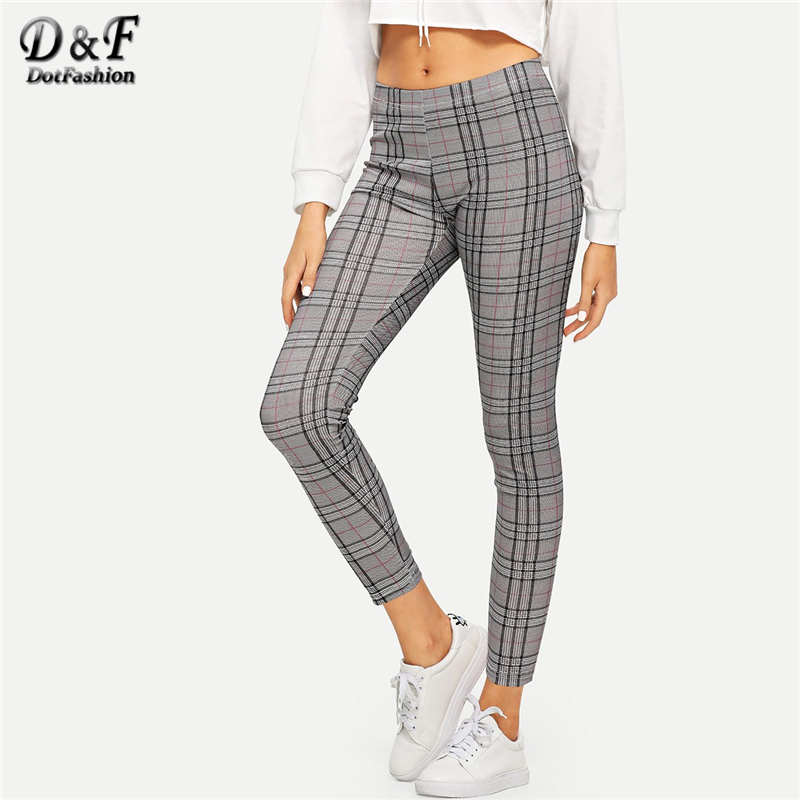 Dotfashion Grey High Rise Plaid Workout Leggings Women Trending Products 2019 Spring Casual Ladies Sports Fitness Leggings Pants