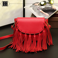 2016 new leather handbag tassel one shoulder aslant package women messenger bag Hobos bags