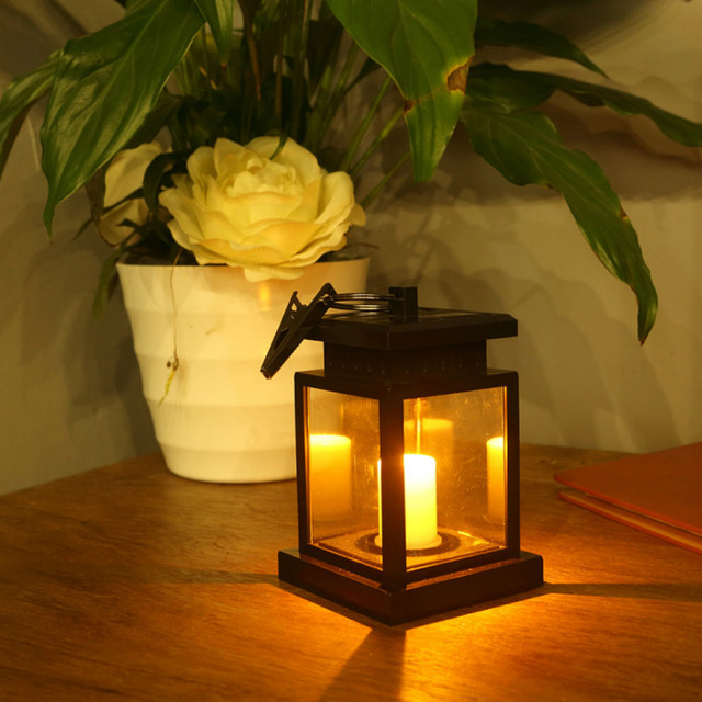 Solar led candle lamp solar garden lamp candle night lights outdoor lighting lamp household hanging decorative