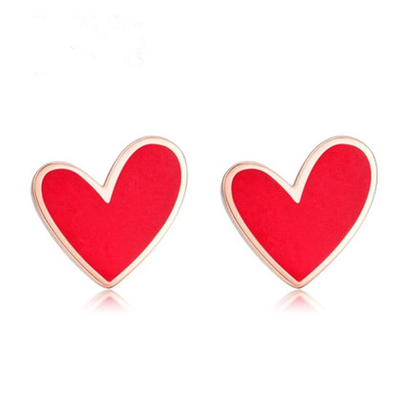 Boucles d'oreilles VOJEFEN 18 K en or Rose pour femmes boucles d'oreilles en Agate rouge chaude pour les amoureux cadeau de la saint-valentin (rouge, noir)