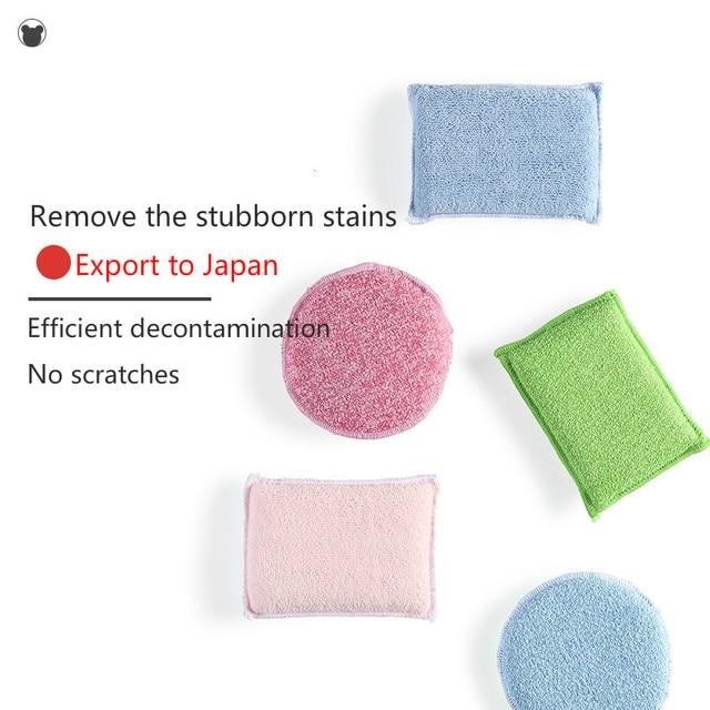 3PCS ad Alta densità antibatterico spugna pulita spugna da cucina bagno pulito spugna magica wipe paglietta spazzola per la pulizia del Forno