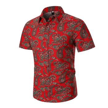Linen Shirts Men Ethnic style Short sleeve Hawaiian Shirt Mens Clothing Slim fit Floral Blouse New arrival Red Navy