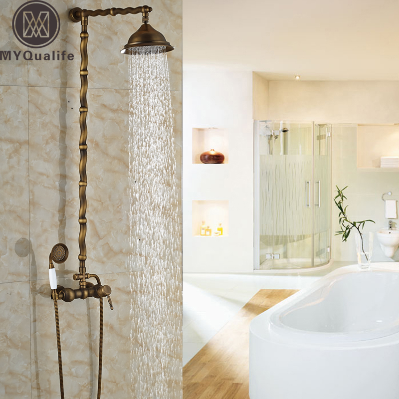 Twisted Pipe Design Brass Antique Exposed Shower Faucet Wall Mounted ...