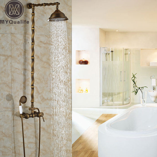 exposed pipe shower . Twisted Pipe Design Brass Antique Exposed Shower Faucet Wall Mounted one  Handle Mixer Tap with