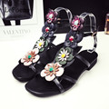 Gladiator Sandals 2017 Summer Sexy Casual Black Solid Woman Shoes Zapatos Tacon Mujer Flower Genuine Leather Gladiator Sandals