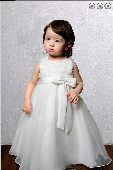 Gratis verzending nieuwe stijl 2016 Wedding Party Jurken Girl's Pageant Jurken Prinses jurken kralen boog trein Bloem Meisje Jurken