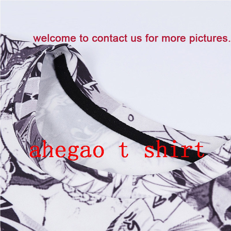 Ahegao Print T Shirt Men Women Harajuku Face Red Woman T Shirts Funny Shy Girl Sexy Tops Summer Cute Clothing Dropship