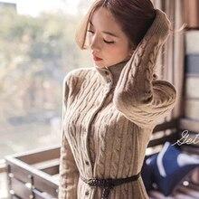 Camisolas do Casaco de mulheres Moda Outono Invernos Vestido de Manga Comprida de Malha de Cashmere Vestido De camisola De Lã Longo Cardigan Vestido