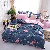 4 Pcs Moda Pink Flamingos Twin/Full/Queen/King Size Roupa de Cama Colcha/Edredom/Edredão Cover Set & Fronhas da Folha de rosto Azul