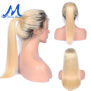 Image 3 - Missblue 613 Honey Blonde Brazilian Remy Hair Wig With Baby Hair Dark Root Lace Front Human Hair Wig for Black Women Pre plucked