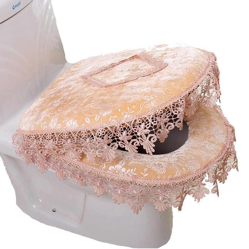 Deska klozetowa pokrywa dwuczęściowy zamek Seat Cover wodoodporna wc poduszki zestaw pokrywa poduszka koronkowa poduszka do siedzenia akcesoria łazienkowe