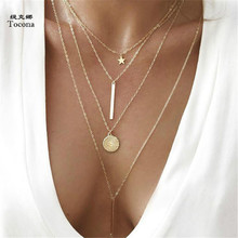 Tocona Vintage Antique Gold Star Sequins Bar Pendant Chokers Necklaces Multi Layer Boho Necklace Collar for Women Jewelry 3869