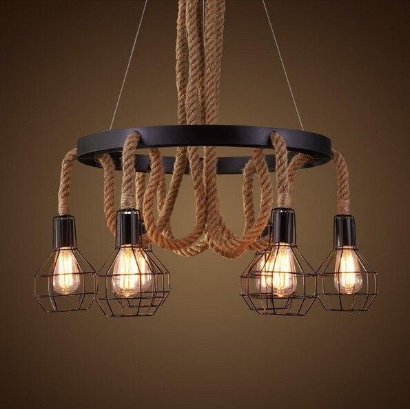 6 Heads Retro Loft Style Hemp Rope Droplight Edison Pendant Light Fixtures Vintage Lighting For