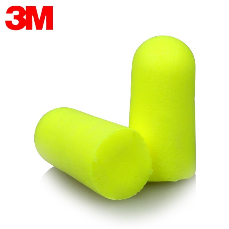 3M Bullet Earplugs E-A-RSoft Yellow Neon 312-1250 Elastic Noise Reduction Wireless NRR:33dB/SNR:36dB LT086