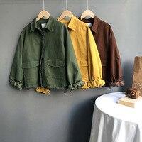 Autumn Safair Style Women Solid Jackets Turn down Collar Full Sleeve Pocket Straight Work Clothes Korean Loose Yellow Green Coat