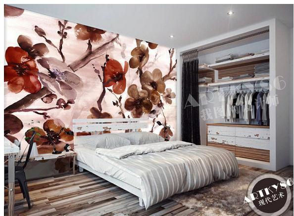 Customize Burgundy Brown Flower Wallpaper Wall Sticker Wallpapers Mural Non Wvoen Factory Direct20151994