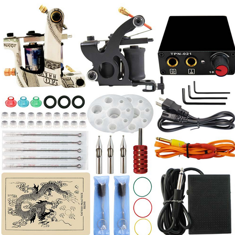 Professional Tattoo Kits 2 pcs 10 wrap coins Guns black mini Power Supply Practice Skin Clip Cord free shipping ручной пылесос handstick dyson v6 cord free extra sv03 350вт желтый