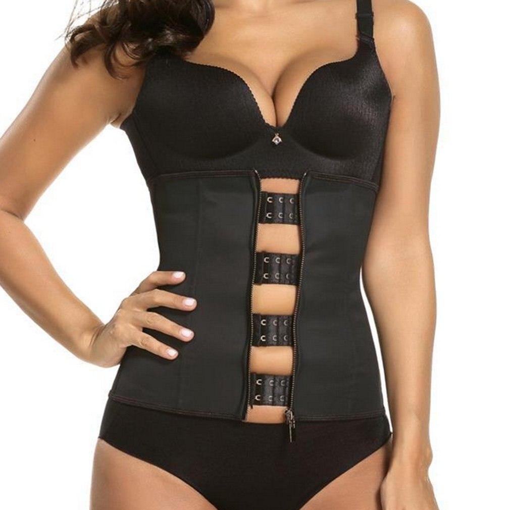 Women Zipper Rubber Corset Fat Burning Abdomen Steel Bone Corset Women Postpartum Abdomen Belt Slimming Shirt Sexy Slim