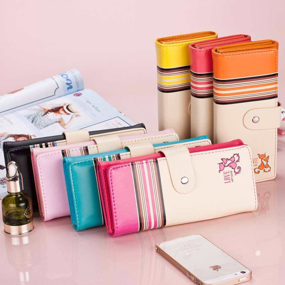 Fashion Cute Long Wallet Women PU Leather Cartoon Cat Bag Lady Clutch Phone Case Zipper Card Holder Female Change Purses coneed fashion women coins change purse clutch zipper zero wallet phone key bags j27m30