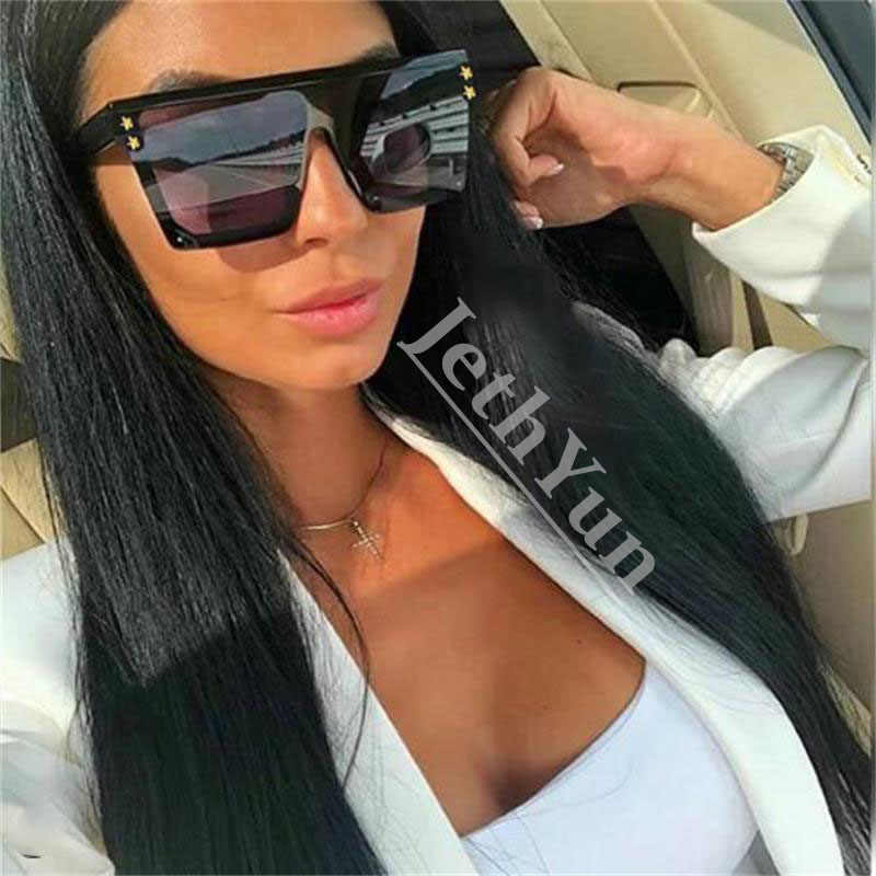 F203 Oversized Vintage Sunglasses Women Luxury Brand Mirror Square Shades Flat Top Sun Glasses Female Star Black Glasses 2019