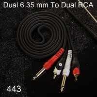 Doppio 6.35 millimetri 2*6.5 millimetri 1/4 ''Mono TS Maschio A Doppio 2 RCA Maschio Audio Cavo di Estensione per Amplificatore Mixer 0.5 M-30 M