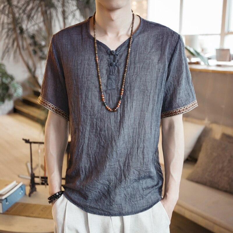 YINOS Sommer Baumwolle Leinen Mann T-shirts Stickerei Manschette Männlich Tees Platte Schnalle Atmungsaktive Homme Kurze t-shirt Tops Größe Plus 2017