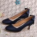 (20 Цветов) Пользовательские Полночь Navy Суд Обувь Невесты для Свадьбы Середине Каблуки Dropshipping
