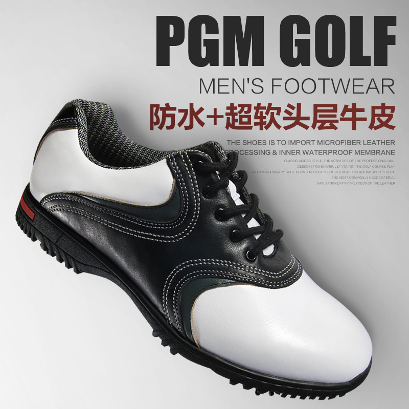 ФОТО 2017 genuine leather golf shoes with spikers anti-slip removeable spiker mens golf shoes sneakers
