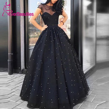 Ball Gown Round Neck Evening Dresses 2019 Beading Black Tulle Long Elegant Formal Dress Robe De Soiree