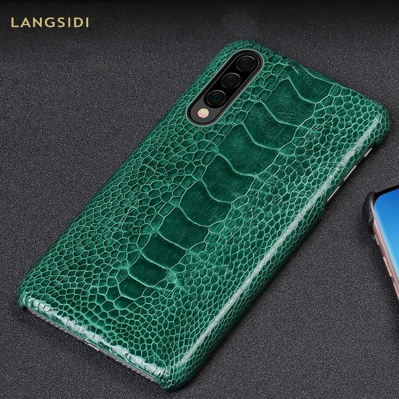 Immobilier de luxe D'autruche en cuir étui pour samsung Galaxy A50 A70 A30 couverture arrière Pour s10 s8 s7 Plus Lite s10e NOte 9 8 a8 A7 2018