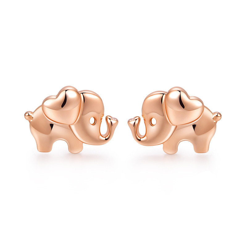 New AU750 Rose Gold Cute Elephant Stud Earrings цена