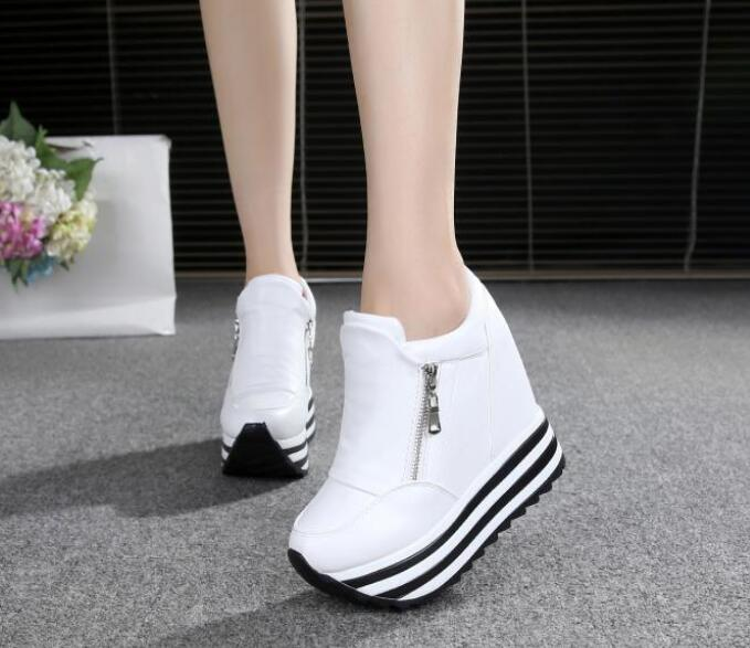 2019 Women Shoes Sexy Wedges Super High Heels 10CM Lace Up White Casual Shoes Women's Party Shoes Chaussure Femme Platform Shoes