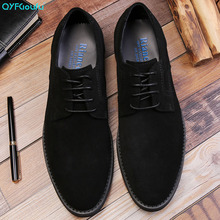 QYFCIOUFU Luxury Suede Mens Dress Shoes Fashion Designer Lace-up Genuine Leather Formal Men Business Office