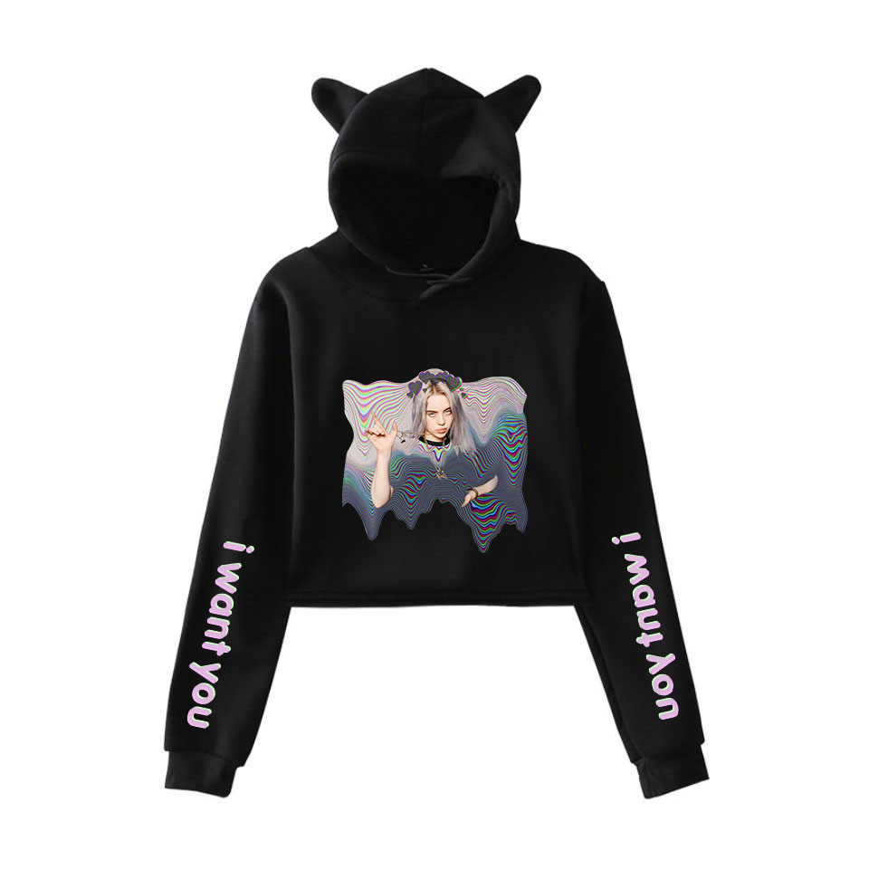 Pride Billie Eilish Print Harajuku Popular Casual Cool Cat Ear Women Streetwear Fashion Navel Hoodies Sweatshirts