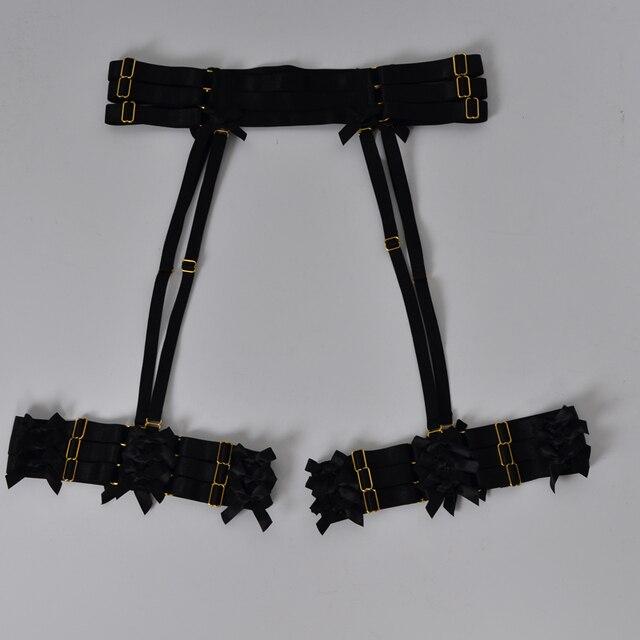 ผู้หญิงสีดำ garter เข็มขัด Bow garter Harajuku Gothic body harness งานแต่งงาน garters เจ้าสาว bondage สายรัด garters