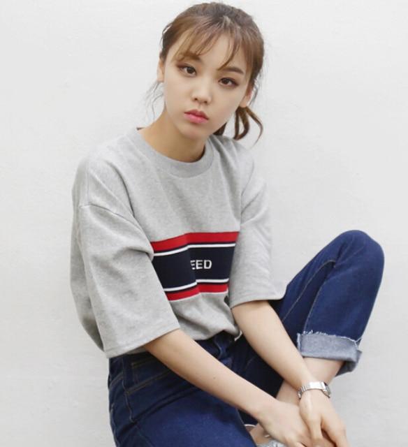 2031dd5c11 Camiseta Feminina 2016 Summer New Women O Neck T Shirt Korean Style Stripe  Embroidery Harajuku Short Sleeved T Shirts Casual top-in T-Shirts from ...