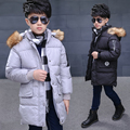 New Children's Down Jacket Detachable Hooded Long Thick Boy Winter Coat Cotton Down Kids Boys Warm Jackets Outerwear Fur Collar