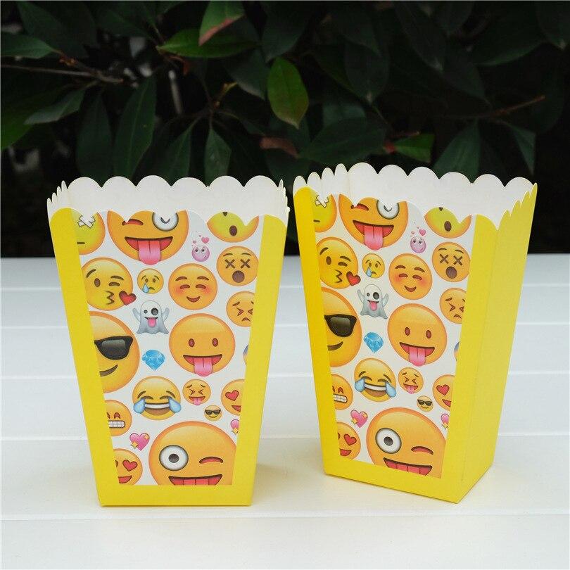 Hot Sale 6 Pcslot Funny Emoji Popcorn Boxes Birthday Party Wedding