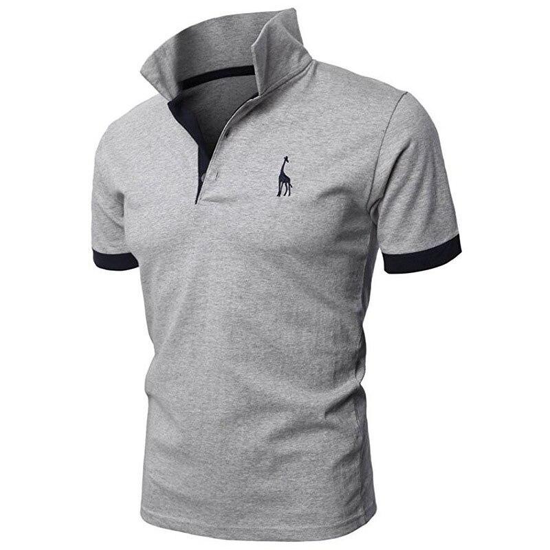 TJWLKJ polo camisa polo dos homens marca de alta qualidade casual Cervos Bordados camisa Pólo Dos Homens de Manga Curta Polo dos homens